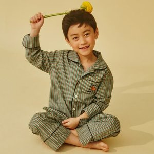 키즈 Stripe Green Pajama SET